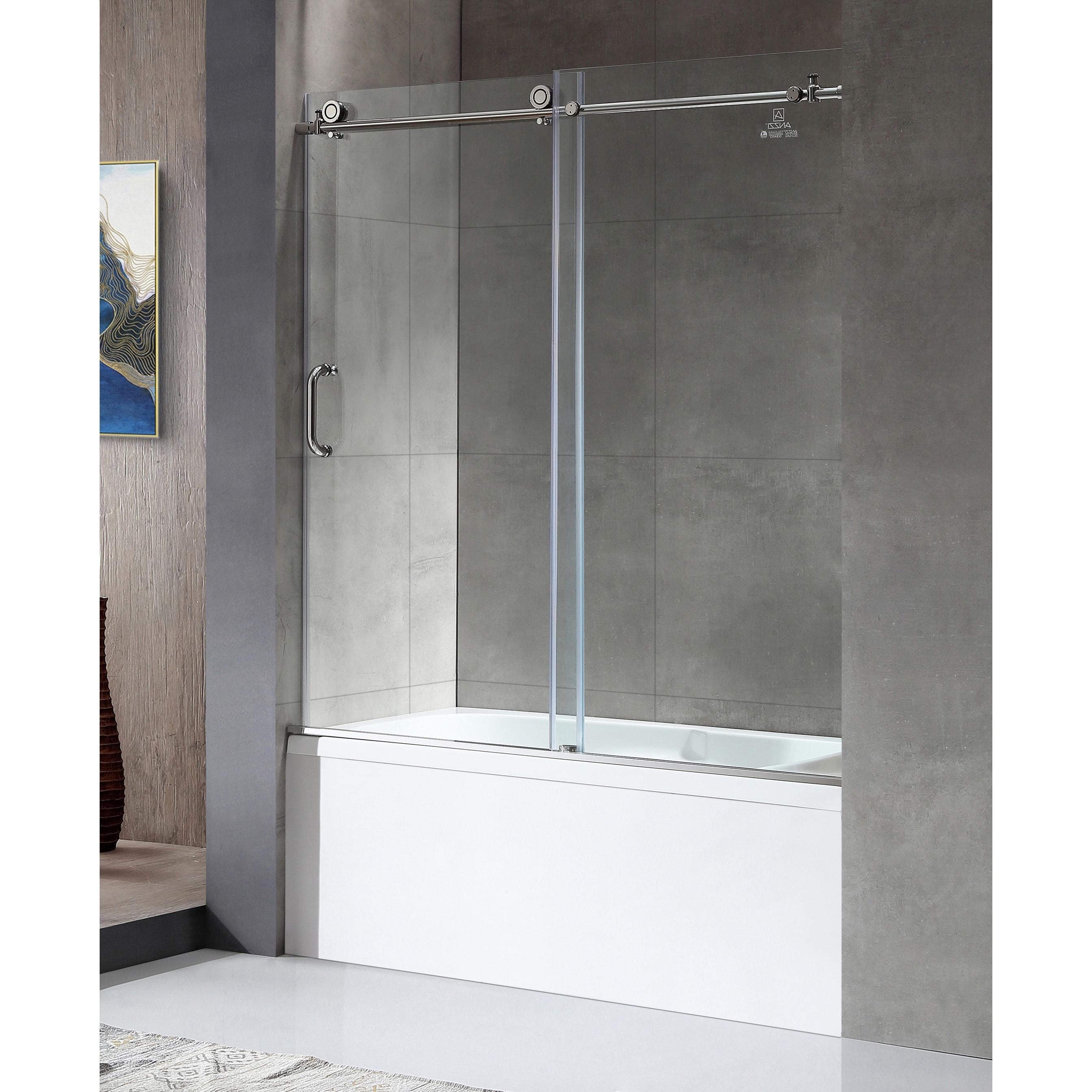 Anzzi Don 59 X 62 Frameless Sliding Tub Door In Polished Chrome