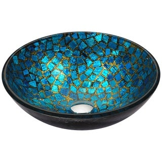 ANZZI Mosaic Series Vessel Sink in Blue/Gold Mosaic
