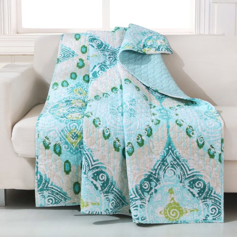 Barefoot Bungalow Cascade Teal/Blue Quilted Throw