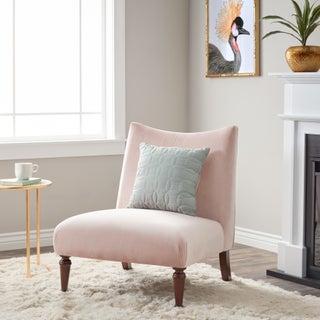 Silver Orchid Applewood Slipper Velvet Chair (Option: Applewood Slipper Blush Pink)