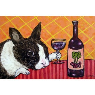 'Bunny Wine' Painting Print on Wrapped Canvas - Black (More options available)