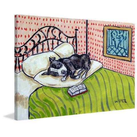 Marmont Hill - Handmade Boston Terrier Sleeping Print on Wrapped Canvas