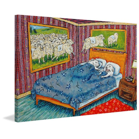Marmont Hill - Handmade Counting Sheep Great Pyrenees Print on Wrapped Canvas