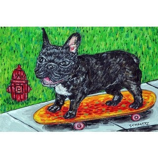 'French Bulldog Skateboarding' Painting Print on Wrapped Canvas