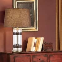 "Catalina Maxwell 29"" 3-Way Cylinder Clear Glass and Faux Leather Table Lamp"