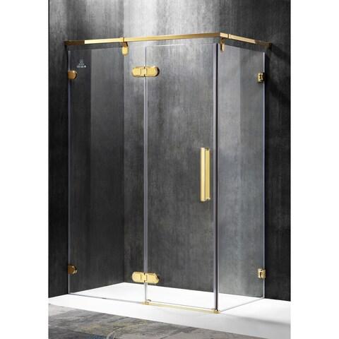 ANZZI Sultan Series Left Side 55.51 in. x 78.74 in. Semi-Frameless Hinged Shower Door in Gold