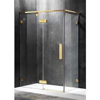 ANZZI Sultan Series Left Side 55.51 in. x 78.74 in. Semi-Frameless Hinged Shower Door in Gold