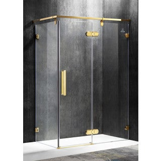 ANZZI Sultan Series Right Side 55.51 in. x 78.74 in. Semi-Frameless Hinged Shower Door in Gold