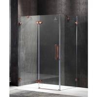 ANZZI Deacon Series Left Side 55.51 in. x 78.74 in. Semi-Frameless Hinged Shower Door in Bronze