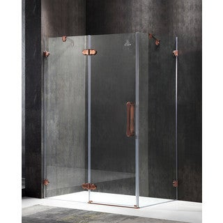 ANZZI Deacon Series Left Side 55.51 in. x 78.74 in. Semi-Frameless Hinged Shower Door in Bronze