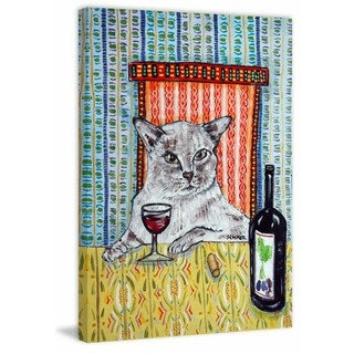 'Cat Tonkinese Wine' Painting Print on Wrapped Canvas - Blue (More options available)
