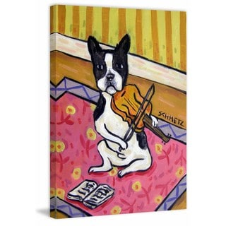 'Boston Terrier Violin' Painting Print on Wrapped Canvas