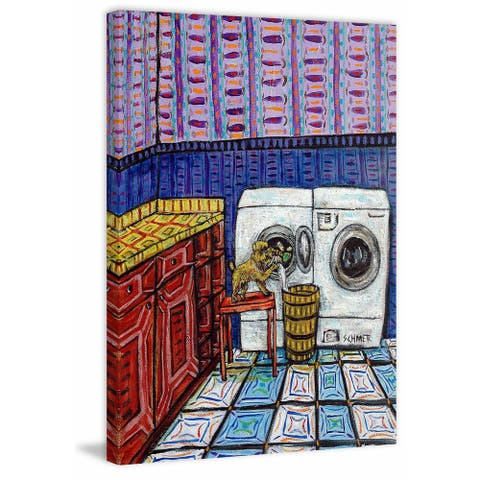 Marmont Hill - Handmade Brussels Griffon Laundry Print on Wrapped Canvas