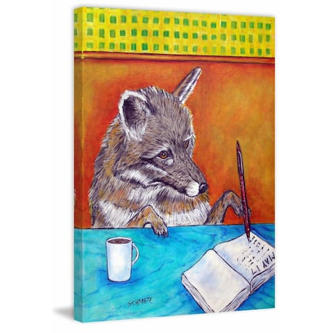 Marmont Hill - Handmade Gray Wolf Writing Journal Print on Wrapped Canvas
