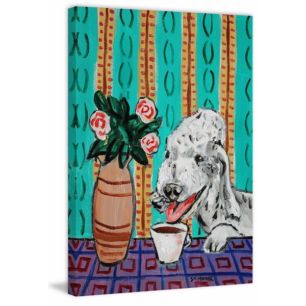 'Bedlington Terrier Coffee' Painting Print on Wrapped Canvas