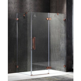 ANZZI Deacon Right Side 55.51 in. x 78.74 in. Semi-Frameless Hinged Shower Door in Bronze