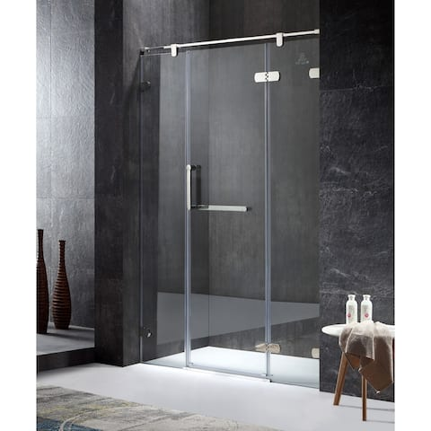 ANZZI Emperor Series Right Side 55.11 in. x 78.74 in. Semi-Frameless Hinged Shower Door in Chrome with Handle