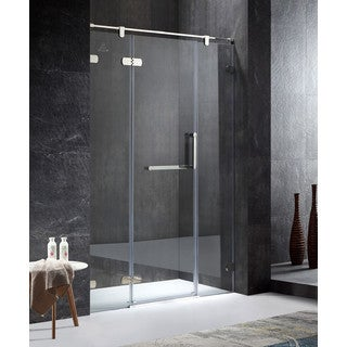 ANZZI Emperor Series Left Side 55.11 in. x 78.74 in. Semi-Frameless Hinged Shower Door in Chrome with Handle