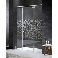 ANZZI Grove Series Right Side 63 in. x 78.74 in. Semi-Frameless Hinged Shower Door in Chrome with Handle