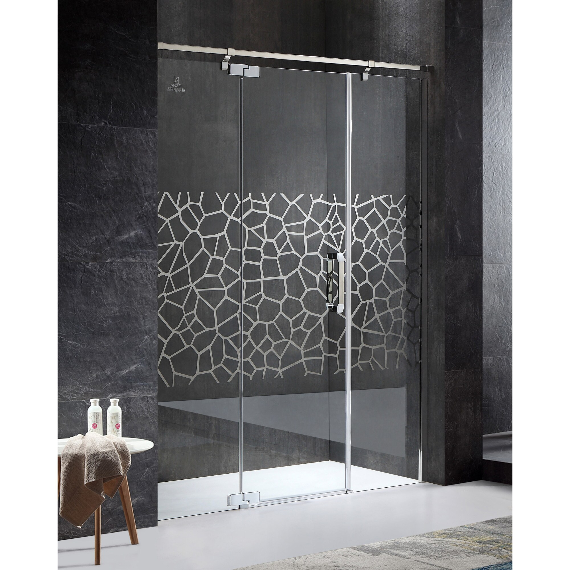 Anzzi Grove Series Left Side 63 In X 78 74 In Semi Frameless Hinged Shower Door In Chrome With Handle