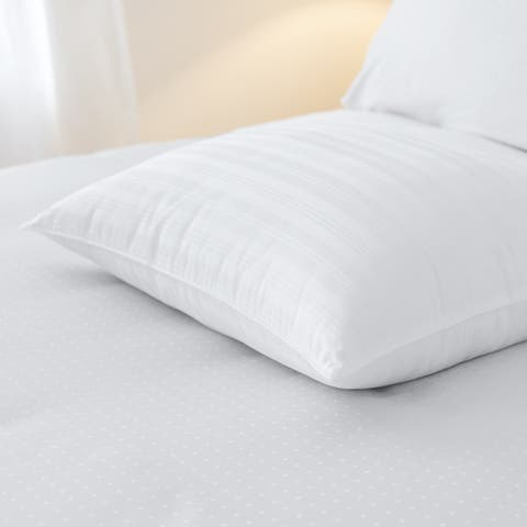 Sleep like a King Barcelona 100 Cotton Woven Dobby Stripe Bed Pillow - White