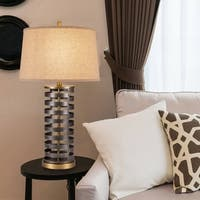 "Catalina Foster 28.5"" 3-Way Two Tone Dark Bronze Cylinder Metal Table Lamp"