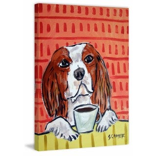 'King Charles Cavalier Coffee' Painting Print on Wrapped Canvas