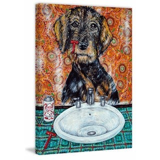'Welsh Terrier Shaving' Painting Print on Wrapped Canvas