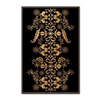 Lisa Powell Braun 'Gold Floral Border' Canvas Art