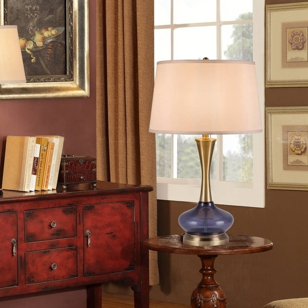 """Catalina Kinley 27"""" 3-Way Blue Glass and Antique Brass Metal Table Lamp"""