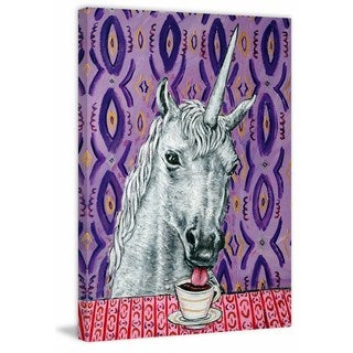 'Unicorn Coffee' Painting Print on Wrapped Canvas