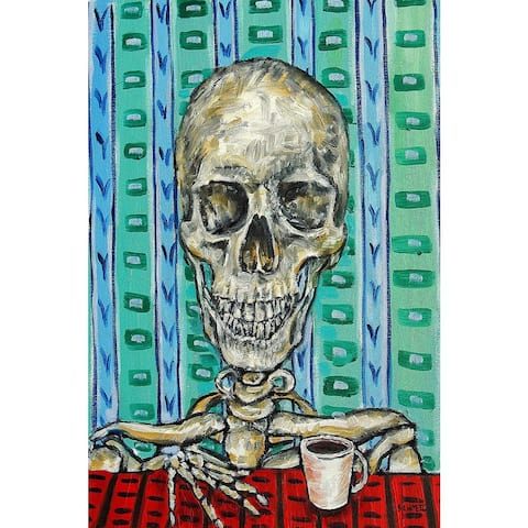 'Skeleton Coffee' Painting Print on Wrapped Canvas - Yellow