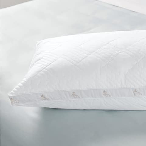 Sleep like a King Positano 100% Cotton Quilted and Gussetted Bed Pillow - White