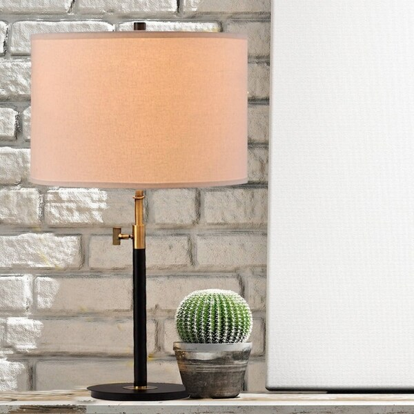 """Catalina Riley 27.5"""" 2-Way Adjustable Antique Brass and Matte Black Metal Table Lamp"""