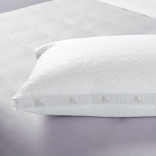 Sleep like a King Santorini 100 Cotton Quilted and Gussetted Bed Pillow - White