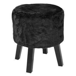 Brassex Round Black Fabric Footstool