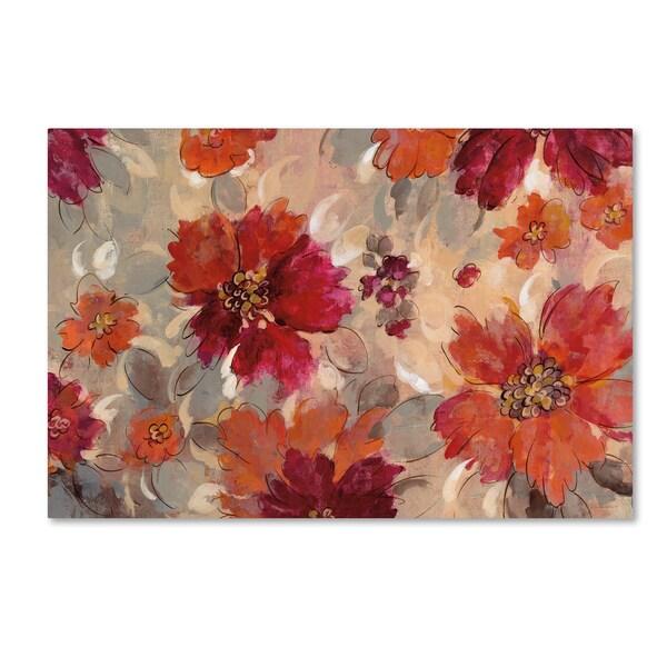 Silvia Vassileva 'Magenta and Coral Floral' Canvas Art