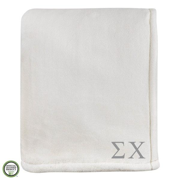 Vellux Sheared Mink Ivory Sigma Chi Monogram Blanket