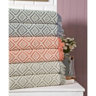 Somette 2-Piece Two-Toned Jacquard Turkish Cotton Oversized Bath Towel (set of 2)