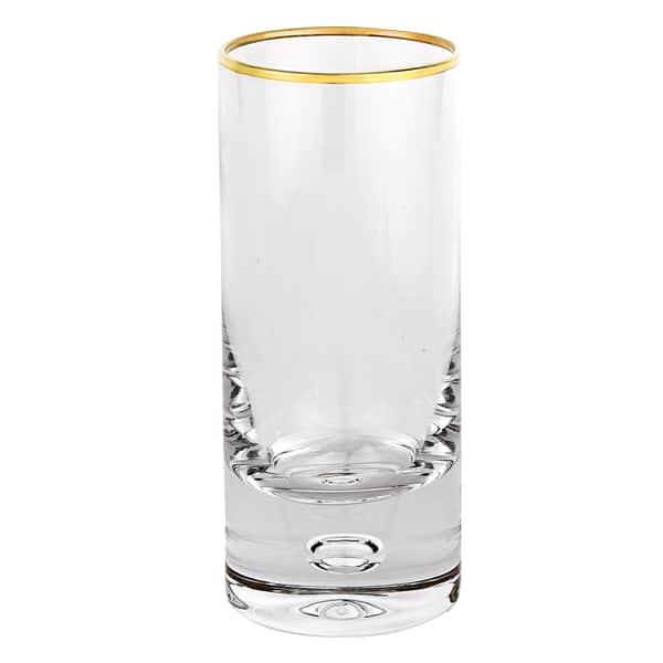 Galaxy Mouth Blown Gold Rim 13 Oz High Ball Glass Set Of 4 Overstock 16288934
