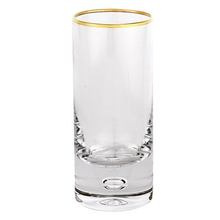 Galaxy Mouth Blown Gold Rim 13 Oz High Ball Glass - Set of 4