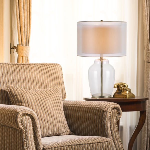 "Catalina Silvia 26"" 3-Way Clear Glass and Antique Brass Table Lamp"