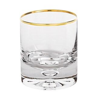 Galaxy Mouth Blown Gold Rim 11 Oz. Rocks Glass - Set of 4