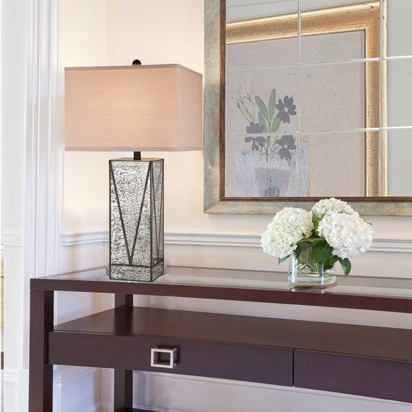 "Catalina Chelsea 30"" 3-Way Mercury Glass and Gunmetal Table Lamp"