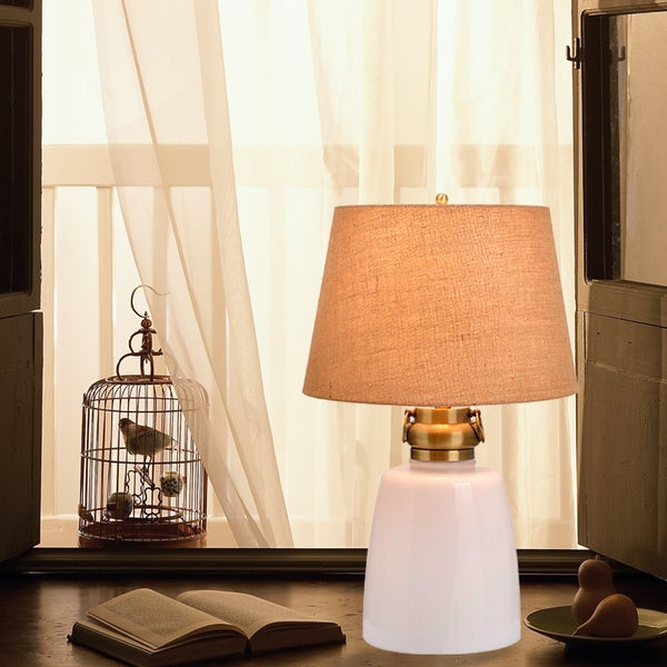 Shop Catalina Sarasota 29 4 Way White Milk Glass Table Lamp With