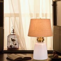"Catalina Sarasota 29"" 4-Way White Milk Glass Table Lamp with Nightlight"