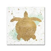 Wild Apple Portfolio 'Silver Sea Life Aqua Turtle' Canvas Art
