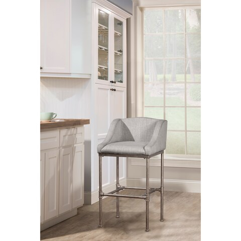 Hillsdale Furniture Dillion Non-Swivel Bar Stool in Textured Silver
