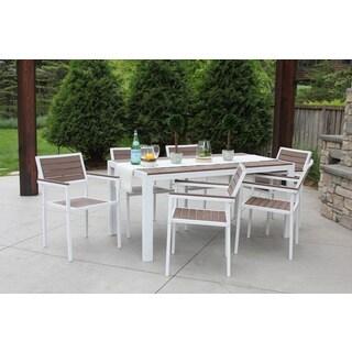 7 Piece All-Weather Outdoor Patio Furniture Garden Deck Dining Set White/Bay Brown--w/Premium Outdoor Storage Cover