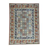 """Shahbanu Rugs Hand-Knotted Antiqued Pazyryk Historical Design Oriental Rug (8'8""""x12'0"""") - Multi"""